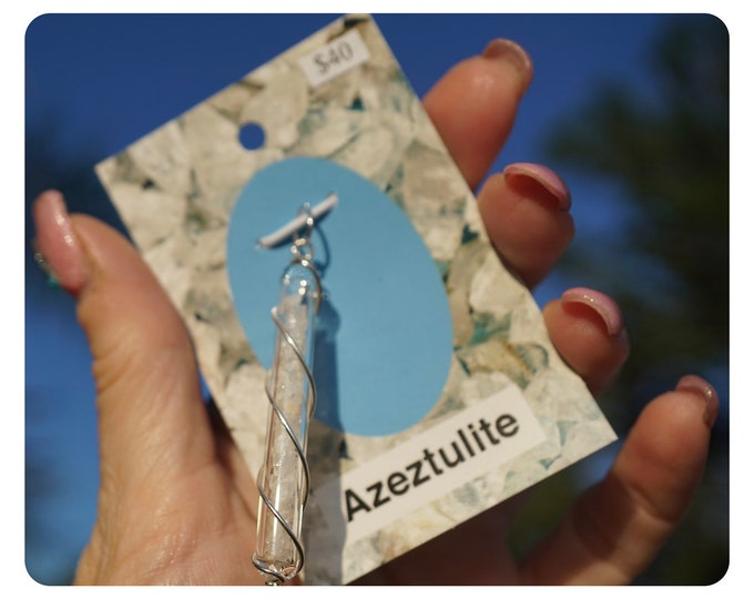Raw AZEZTULITE Pendant 100% Natural inside a Quartz Crystal Vial to Amplify and Spiraled in 925 SS to increase the energy. HR403