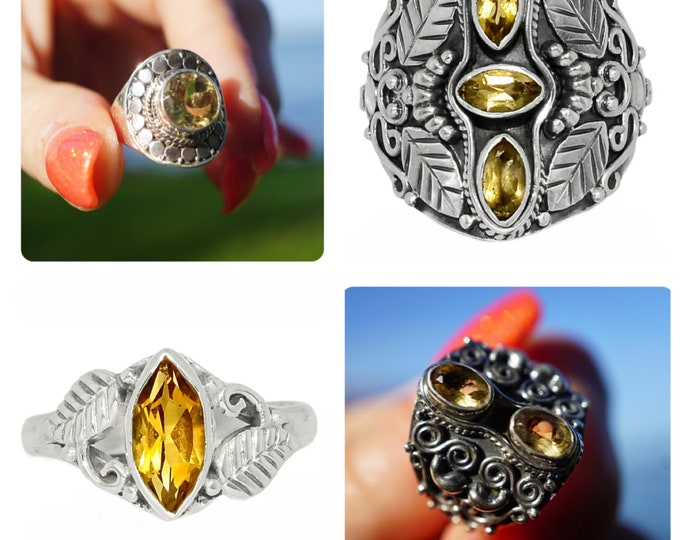 Raw CITRINE Ring  - 925 Sterling Silver - Size 6.5, 7, 7.5 8 and 9 Citrine Jewelry - This Healing Crystal can attract Abundance