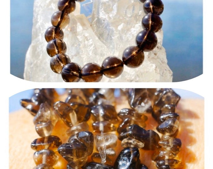 """SMOKY Quartz Bracelet - Round & Chip Stretch Beaded Bracelet 7"""" - 7.5"""" from Brazil - This Healing Crystal can bring Protection BDISQ"""