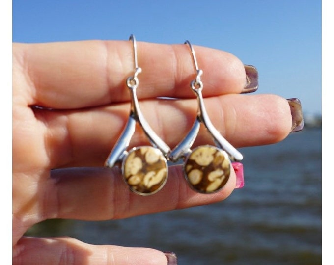 """Polished PETRIFIED WOOD Earrings Peanut Jasper in 925 Sterling Silver 1.9"""" 5.4 g  - This Healing Crystal can Stabilize and Ground You"""