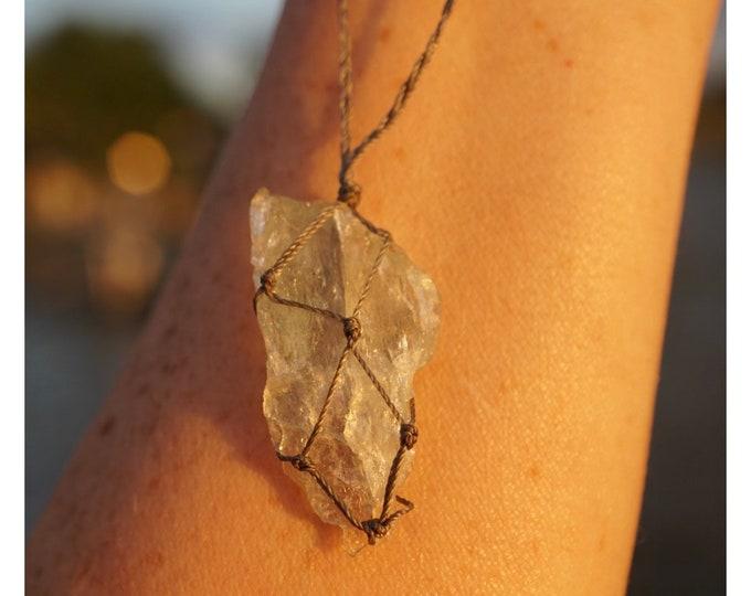 "Blue AQUAMARINE Necklace (AAA quality) Boho Crystal Hemp Wrap Macreme Cord Adj  - 16-28"" - This Healing Crystal can absorb stress"