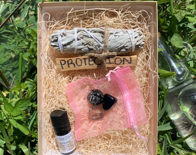 PROTECTION BOX- Tumbled smokey quartz, obsidian, Apache Tear, Palo Santo Stick, sage bundle, powerful protection essential oil topical