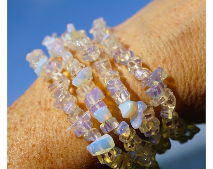 Clear OPALITE Bracelet - 4-6mm Chip Bracelet - This Healing Crystal can deflect negative energy BDOL1