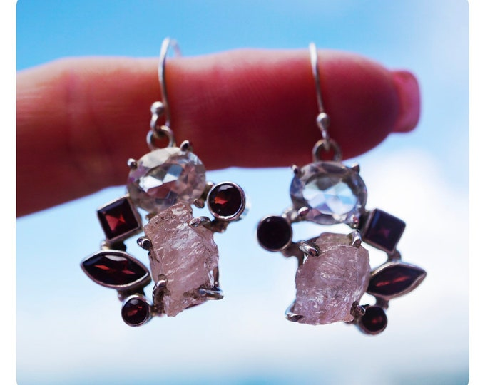 "Raw Pink MORGANITE Earrings with Quartz and GARNET - 1.5"" 9.8g 925 Silver - This Healing Crystal can have the Frequency of Divine Love JA71"