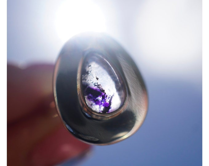Purple Blue John FLUORITE Ring SIze 6.5 - 925 Sterling Silver - This Healing Crystal can clear Negative Energy and Absorb Pain JB4
