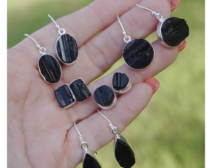 Raw Black TOURMALINE Earrings Stainless and 925 Silver - This Healing Cryatal can provide Protection and Grounding EXBTT