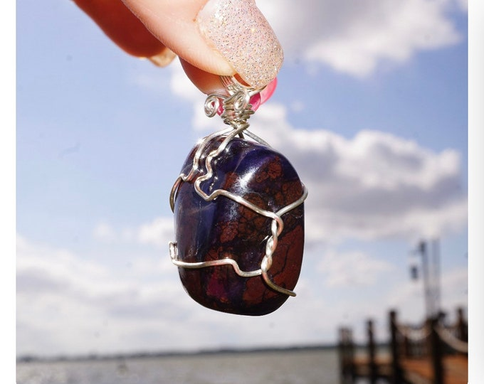Polished SUGILITE Pendant - Africa - 925 Silver Wire Wrap - This Healing Crystal can provide the Ultimate loving frequency 26grams 1.7 WW03
