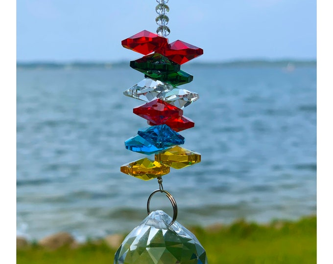 Faceted Lead Crystal ball - Sun Catcher ~ Fan Pull - Lead Crystal Sun Catcher - Handmade Crystal ~ Rainbow Maker