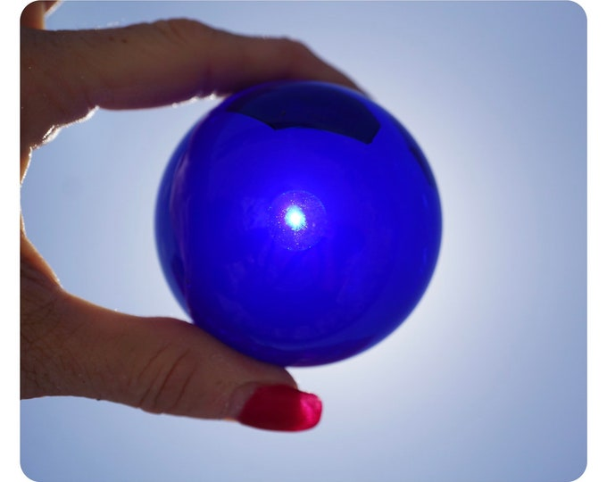 Polished BLUE QUARTZ - Cobalt Sphere - 40mm & 60mm Picture Ball - Lab Grown in Russia - This Healing Crystal Ball can give Mental Clarity
