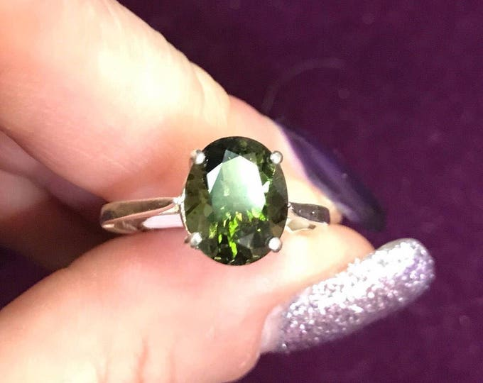 Faceted MOLDAVITE Ring - 10x8 mm size 4 5 6 7 8 9 10 11 12 - This Healing Crystal can rapidly put you on your Spiritual Path m603