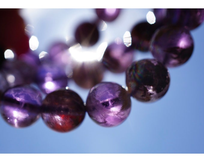 """Polished SUPER 7 Bracelet - 7.25"""" 8-12mm Beaded Bracelet - This Healing Crystal is a Strong stone with 7 Minerals Inside BDIS78R BDIS712R"""