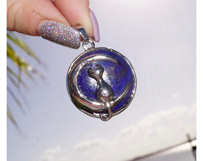 """Blue LAPIS LAZULI Pendant with Moon and Cat Pendant 1.25"""" - Stainless Steel 18"""" Chain - This healing crystal can promote self awareness P88"""