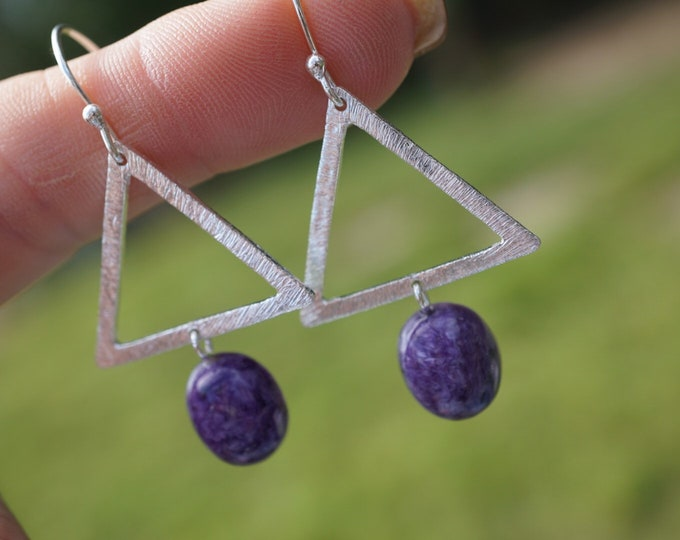 "Purple Russian CHAROITE earrings - set in 925 silver 5g 2"" - This Healimg Crystal can assist with clearing childhood tramas JE26"