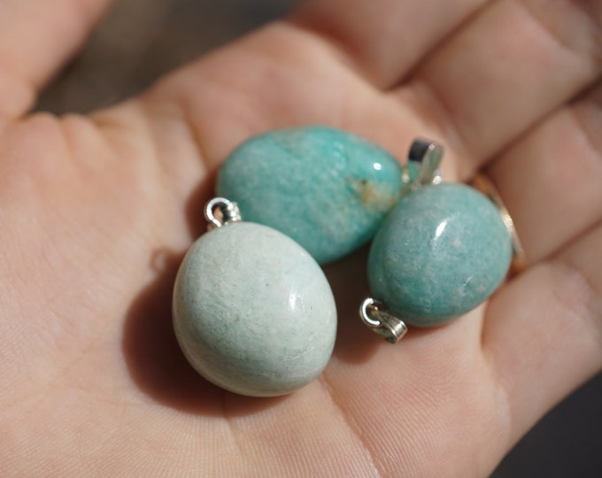 """Polished AMAZONITE Minimalist Pendant - .75""""-1"""" - This Healing Crystal can assist with fear and anxiety - b4"""