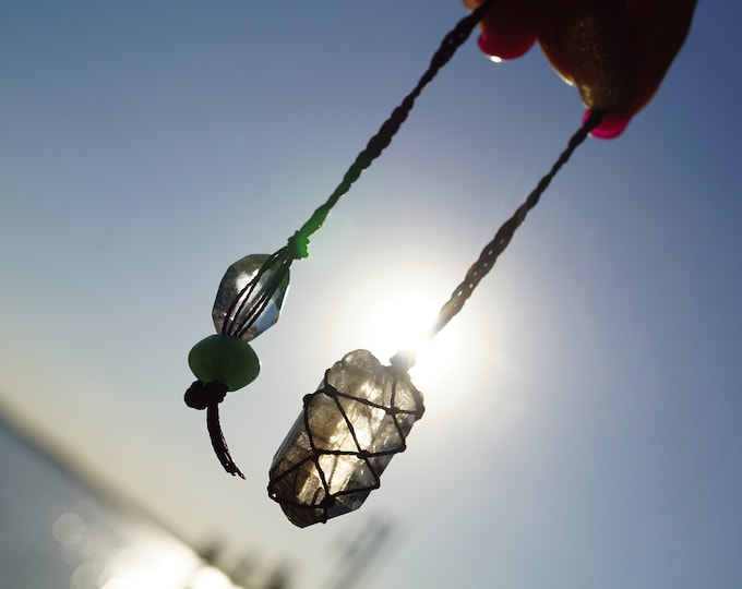 "Raw Natural SMOKY QUARTZ Pendulum - Crystal Hemp Wrap Macrame Crystal Handmade Pendulum Quartz & Jade Beads - 9.5"" - Healing Crystals BW16"