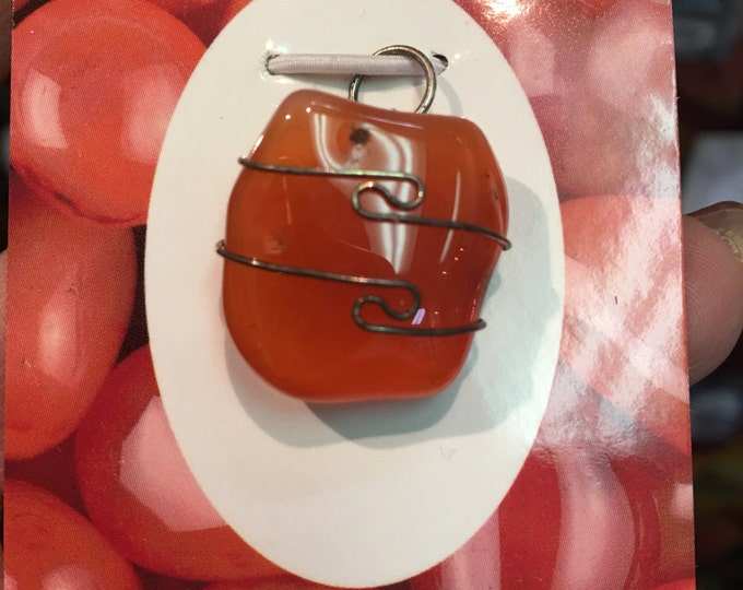 Polished CARNELIAN Pendant - Wrapped with 925 Silver Wire - This Healing Crystal can Enhance Creativity and Sexuality HJ1405