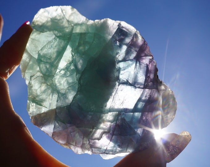 Polished FLUORITE Specimen from Mexico - Blue and Green Fluorite - This Healing Crystal can absorb Pain 6.8oz N10