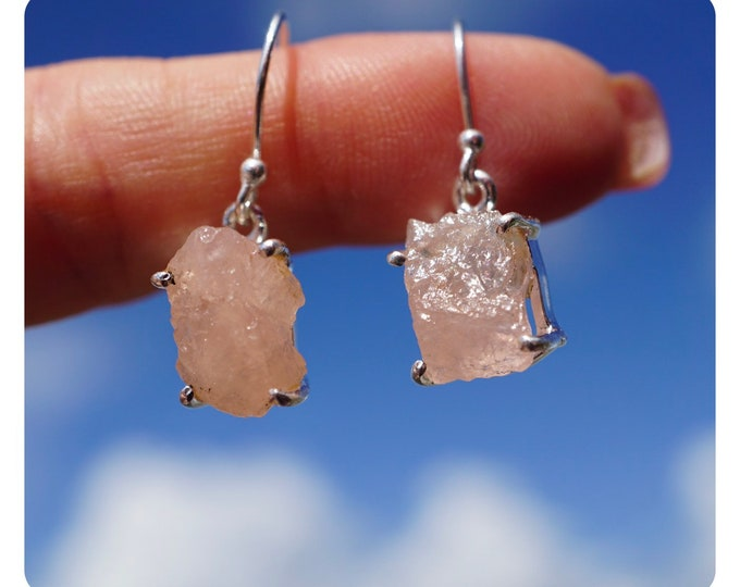 """Raw Pink MORGANITE Earrings - 1.4"""" 4.3g - 925 Silver - This Healing Crystal can have the Frequency of Divine Love JA63"""