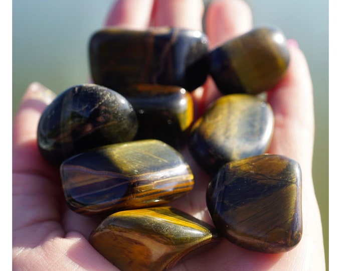 "Tumbled Blue TIGER EYE medium stone - This Healing Crystal is the stone of willpower and strength - .50-1""  FREE Add On Shipping! A88"
