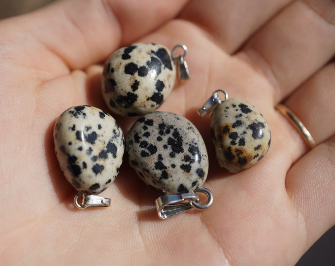 """Polished DALMATION Jasper pendant - aprox .5"""" Minimalist Pendant - This Healing Crystal can Motivate, and Give Confidence & Courage b4"""