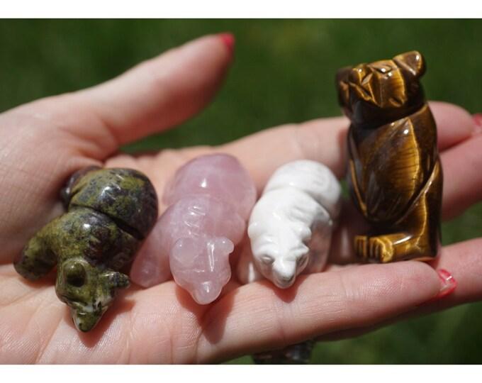 Clear QUARTZ Bear Carving or Bead- Aventurine or Kambaba JASPER Nebula Tiger Eye 20 mm - Crystal Bear  Snake Spirit Animal Totem Bear