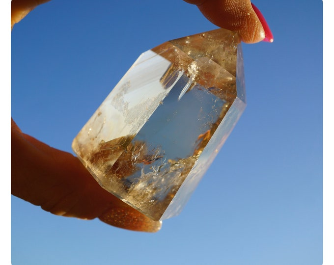 Polished Natural CITRINE Point - Unheated Brazil 60x40x30 mm 99 g - This Healing Crystal Can Bring Happiness & Abundance N02