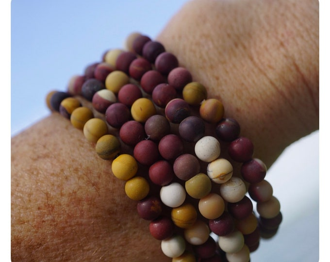 Matte MOOK JASPER Bracelets - 6mm Matte Round Beads - Mookite Jasper -This Healing Crystal can Slow Aging