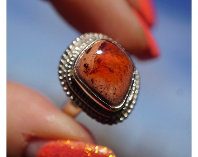 Orange FIRE AGATE Ring - 925 Sterling Silver Size 7.5 - This Healing Crystal can give you a Zest for Life - RXFA1