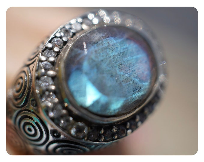 Polished Blue & Purple LABRADORITE Ring  w Faceted Danburite size 7.5 - This Healing Crystal can be the stone of Magic and protection GX15