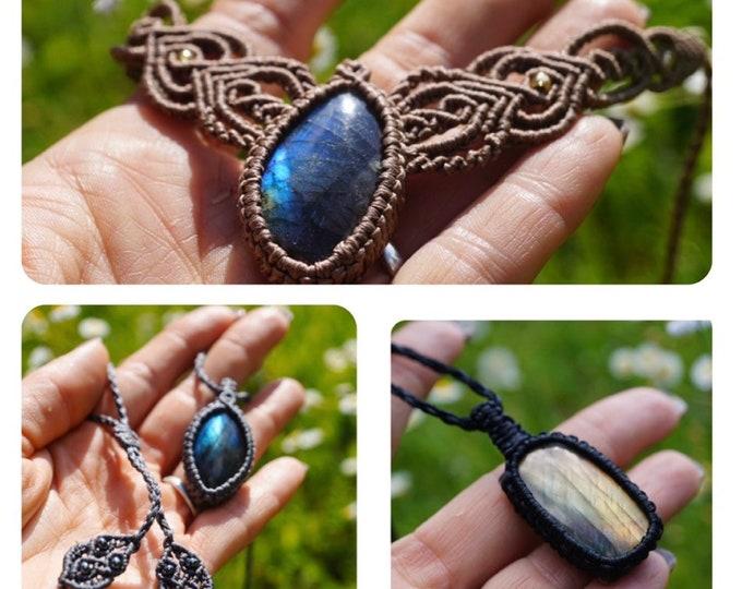"Polished Blue LABRADORITE Macramé Necklace - Handmade Jewelry - This Healing Crystal can provide Magic - 15-26"" adj Boho Necklace"