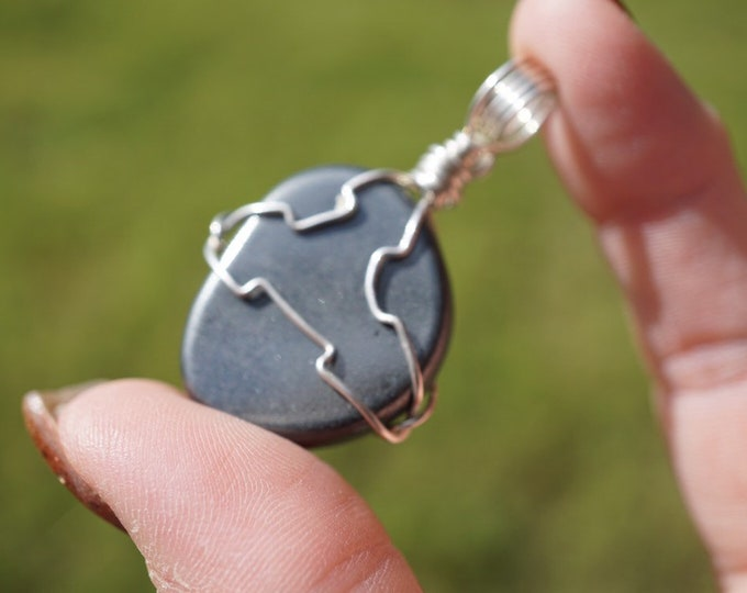 HEMATITE Wrapped with 925 Silver Wire Pendant (Said to be energizing and grounding at the same time) ss