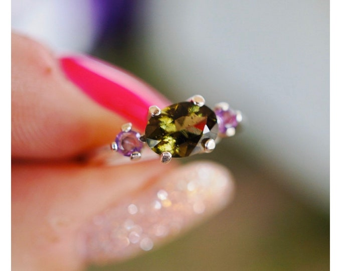 Faceted MOLDAVITE AMETHYST Ring 6 mm Rd - 925 Silver or 14kt Gold - Sizes 4 5 6 7 8 9 10 11 12 13 - Healing Crystal for your Evolution M644