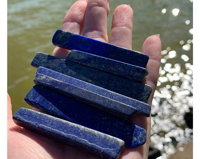 Polished LAPIS LAZULI Crystal Wand  - Grade A Color Angel Chimes - 40-80mm Medium - This Healing Crystal can promote self awareness B3 I33