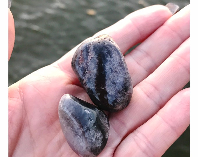 Tumbled Super 7 - Two Stones Brazil: Amethyst , Clear & Smoky Quartz, Cacoxenite, Rutile, Geothite and Lepidocrosite 75x40x30mm 90 g SA41-B4