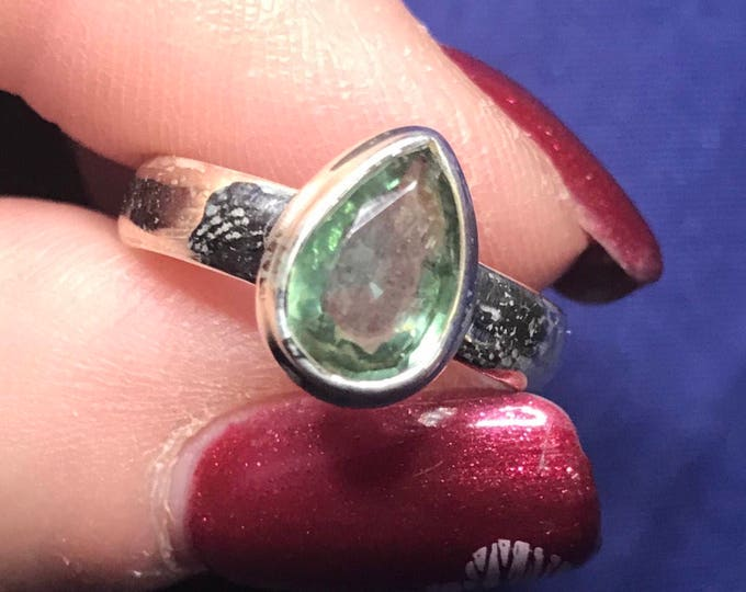 Faceted Green KYANITE Ring set in 925 Sterling Silver Size 5.5 - This Healing Crystal can Calm your mood and increase Telepathy RGX32
