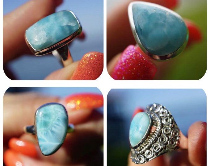 Polished Blue LARIMAR Ring - Blue Crystal Ring SIZE 7 & 7.5 - 925 Sterling Silver - This Healing Crystal can Bring Calm RXLR2