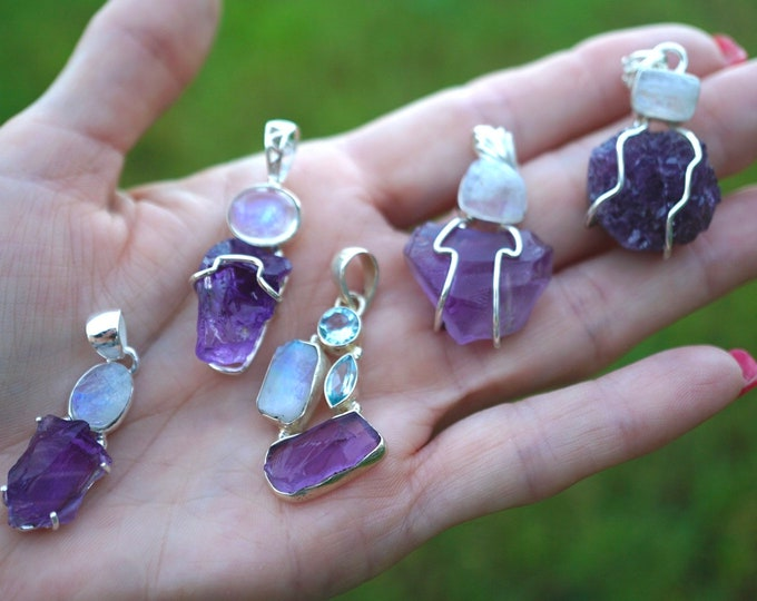 Purple AMETHYST Pendants 925 Silver - With Moonstone - This healing crystal can be the stone of Spirituality