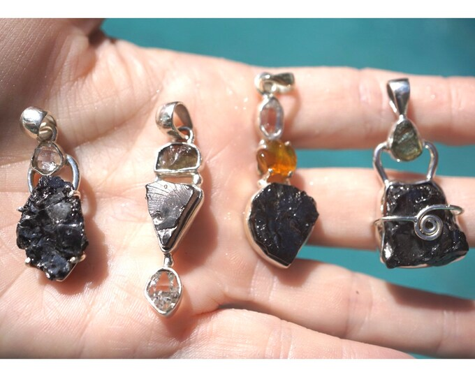 Raw Noble Shungite Pendants from Karelia with Moldavite, Opal, Herkimer Diamond 925 Sterling Silver - Said to Heal Deep, Protect & Purify