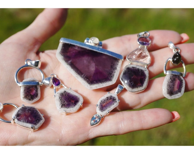 Polished AURALITE 23 Pendants - Moldavite, AMETHYST, Moonstone - This Healing Crystal is a Strong stone with 23 Minerals Inside BN1
