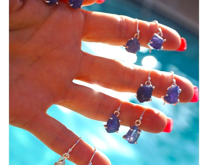 Raw or Rough TANZANITE Earrings - This Healing Crystal can assist you to develop psychic power BN1
