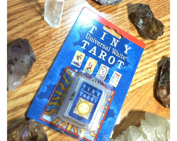 Learn Tarot Cards Kit - With the TINY TAROT Deck Keychain - New 78 cards, Guidebook, Three Crystals, Cheat Sheet, Velvet Tarot Bag TTTK