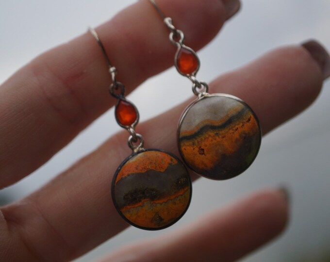 """Polished BUMBLE BEE Jasper Earrings in 925 Sterling 2""""-5.8g- This Healing Crystal can inspire and channel your creativity JC11"""