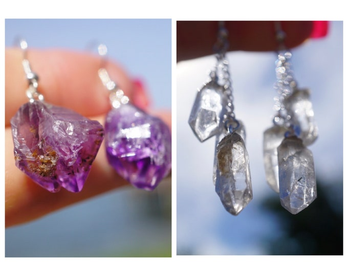 """Raw Clear Quartz or AMETHYST Earrings - Natural Terminated Points - 925 Silver - This Healing Crystal can assist with addictive behavior 1"""""""