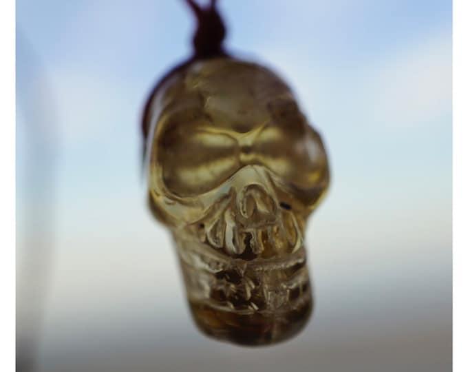 "Carved Natural CITRINE Skull Necklace - 15-26"" BOHO Crystal Hemp Wrap Choker - This Healing Crystal can feel Abundant HW40"
