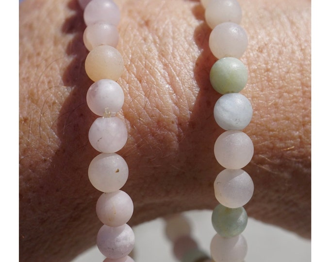 Matte MORGANITE Bracelet - Beaded Stretch Bracelets One with Emeralds - This Healing Crystal can make you feel Divine Self Love D122A D122B