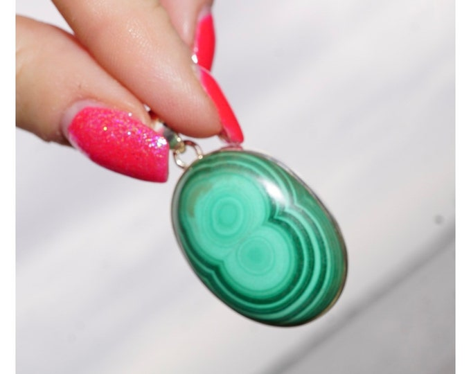 """Green MALACHITE Pendent - 1.5"""" Natural Malachite from S. Africa  - This Healing Crystal Can Assist in Detoxing PXML2"""