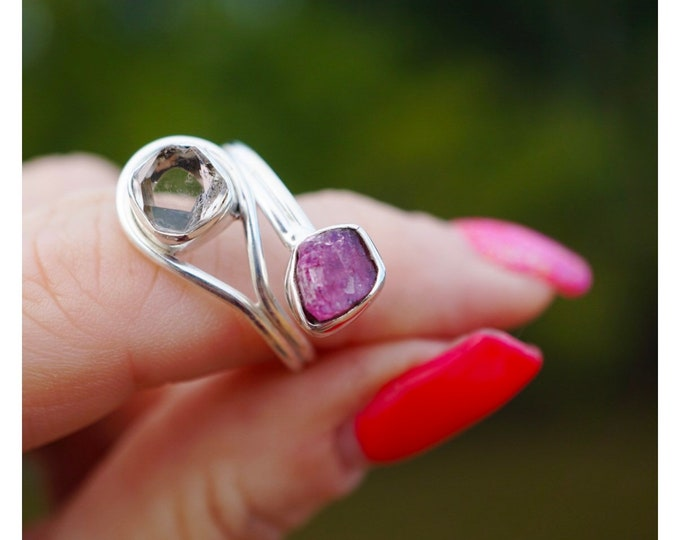 Red RUBY and Herkimer Diamond Ring - This Healing Crystal can increase love and passion - adjustable Size 6-9 - 925 Silver JB19