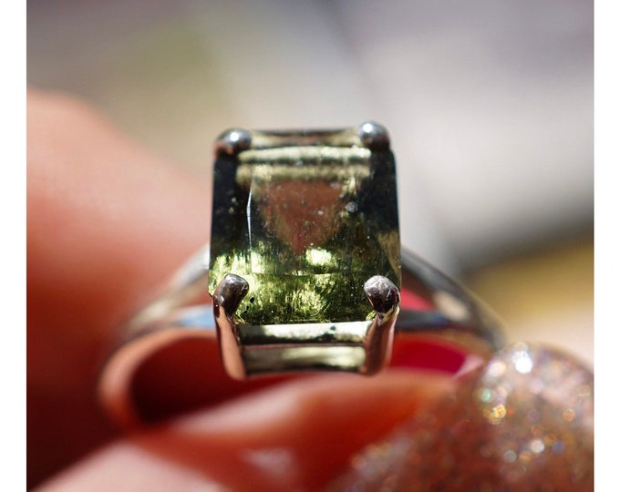 Faceted MOLDAVITE Ring 10x8mm Emerald Cut - 925 Silver or 14kt Gold SIZES 4 5 6 7 8 9 10 11 12 This Healing Crystal Evolution Stone - HM612