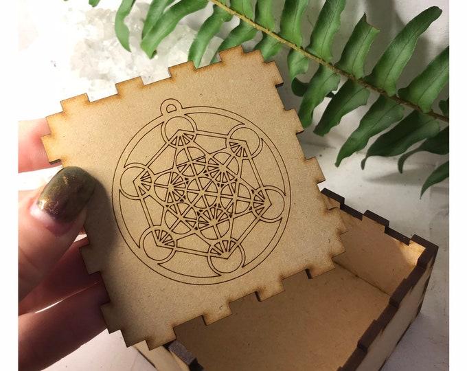 "Handmade Burned Wood Metatrons Cube  gift box - Said to be the Sacred Geometry to Life 3x3x1.75"""