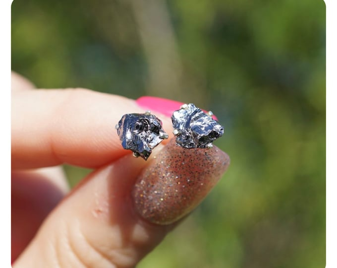 Raw Iron Meteorite Campo Del Cielo Stud Earrings set in 925 Silver ~ This Healing Crystal Meteorite can Accelerate your Spiritual Path 7x5mm